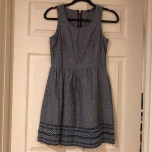 Blue dress with trim